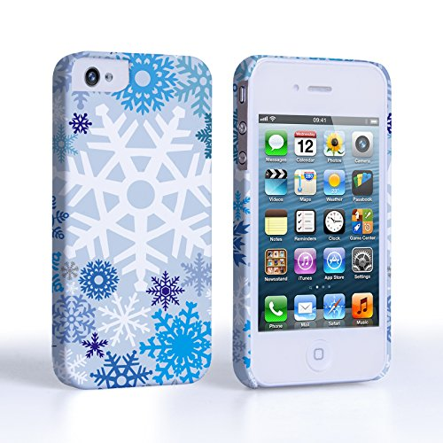 Caseflex iPhone 4 / 4s Case White / Blue Winter Christmas Snowflake Hard Cover