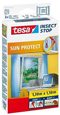 tesa Fliegengitter für Fenster inkl. Sonnenschutz, beste tesa Qualität, 1,3m x 1,5m