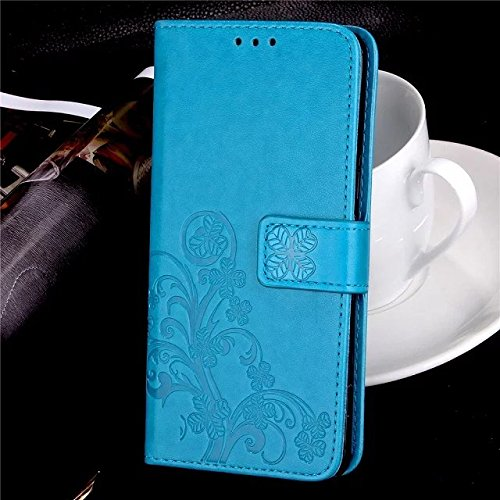 YHUISEN Emboss Lucky Flower Four-Leaf Clover PU Leder Brieftasche Fall Stand / Card Slot Mit Lanyard Strap Flip Case Cover für Kyocera Hydro View C6742 ( Color : Red ) Blue