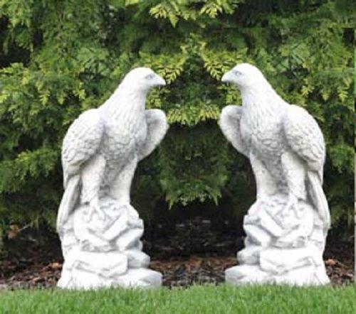 Defi Deko- und Figurenhandel 2 Adler Set (S103027+S103046) Skulptur Gartenfiguren Statuen Steinguss 60 cm