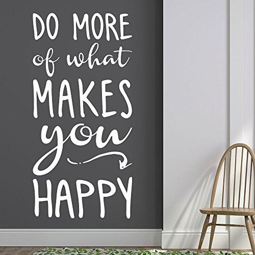 Wandtattoo Do more of what makes you happy! | Englischer Wandspruch | Farbe lindgrün, Größe 29x60cm