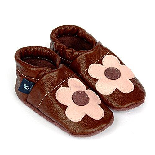 pantau.eu Leder Lauflernschuhe Krabbelschuhe Lederpuschen Babyschuhe mit Blume mittig BRAUN_ROSA
