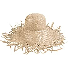 Set di 6 cappelli di paglia in bianco (SH-21), pagliette in stile hawaii unisex in paglia accessorio carnevale travestimento festa tempo libero beach spiaggia mare protezione sole