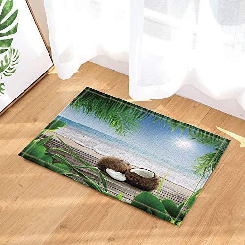 hdrjdrt Blauer hübscher Himmel unter klarem Wasser 2 braune weiße Kokosnussfrucht-Kokosnussgrünblätter Keine chemische Versorgung handgemacht haltbar und einfach zu säubern -