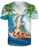 Idgreatim Frauen Männer Universum Sternenhimmel 3D Katze Print Kurzarm T-Shirts Casual Top Tees