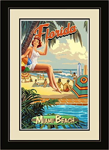 Northwest Art Mall PSG Miami Beach Florida am Pool Girl, gerahmter Wand Art, 33cm von 40,6cm