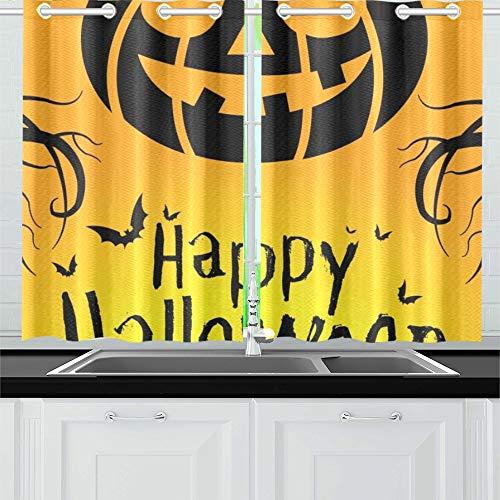 JOCHUAN Happy Halloween 31. Oktober Küche Vorhänge Fenster Vorhang Stufen für Café Bad Wäscherei Wohnzimmer Schlafzimmer 26 * 39 Zoll 2 Stück