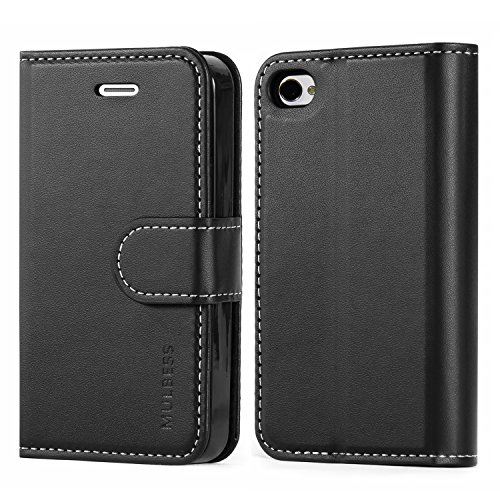Mulbess iPhone 4s Hülle, Bussiness Style Leder Flip Case mit Brieftasche Schutzhülle für iPhone 4s und iPhone 4 Tasche, Schwarz Iphone 4s Leder