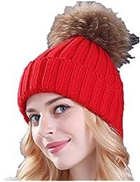 Ducomi® Cortina - Cappello Donna Invernale in Maglia di Lana con Pom Pom  Rimovibile in Morbida Pelliccia Ecologica… 53309cc3d8a2