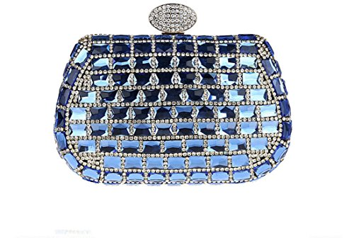 Whoinshop Damen Rectangle Kristall Abendtasche Kupplungs-Geldbeutel Silber blau