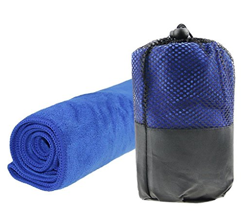 Microfiber Travel Towel Super Compact Absorbent Sports Beach Towel Fast Drying For Camping Sports pool gym yoga bath Travel Easy to Wash & Fast Drying 30X100CM (Blue)