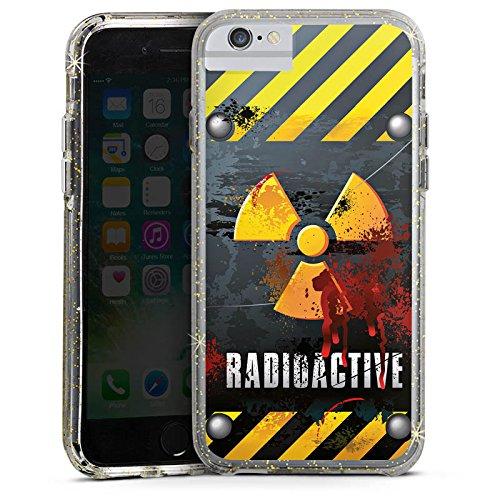 Apple iPhone 8 Bumper Hülle Bumper Case Glitzer Hülle Radioactive Blut Blood Bumper Case Glitzer gold