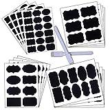 Onepine Etichette di Lavagna 168 Adesivo Lavagna Riutilizzabile Impermeabile e 2 Pennarelli Cancellabili in Gesso Bianco per la Cucina Domestica e la Marcatura di Classificazione di File di Ufficio