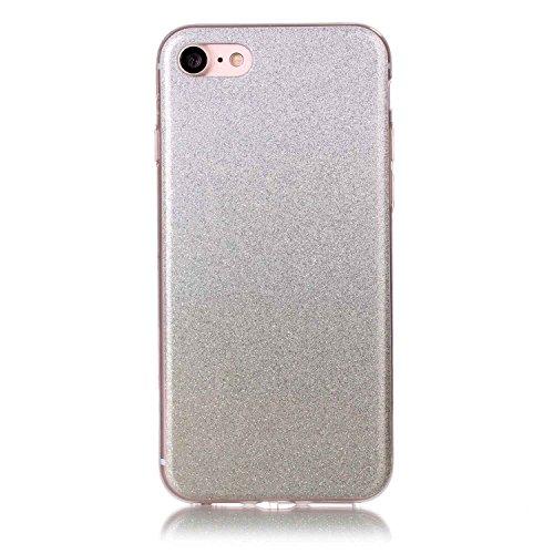 iPhone 7 Hülle Weiches Silikon Glitzer Schutzhülle Tasche Case,Hochwertig Leicht Gummi Schutz Hoch Handyhüllen Schale Etui,Herzzer Modisch Luxus Silikon Bunt Hülle [Farbverlauf Gradient Farbe] Regenbo Silber
