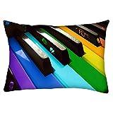 Snoogg Colorido Teclado de Piano música Rectángulo Toss Throw Pillow Cojín Funda Decoarative funda de almohada 14x 22'