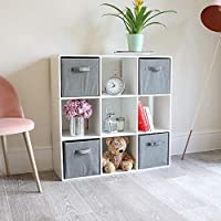 Wido Wooden Cube Storage Unit System With 3 Grey Drawers Organiser Modular Shelving Bookcase Display