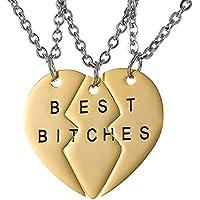 Best Friends Forever migliori Bitches Split Cuore collane per donne e ragazze