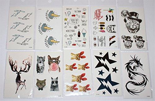 Wolga-creativo tattoo set 10arco come principale immagine stella smily gatto comic farfalla fiore gatto croce tatuaggi temporanei (temporaneo trasferimento schermo, delicato sulla pelle)