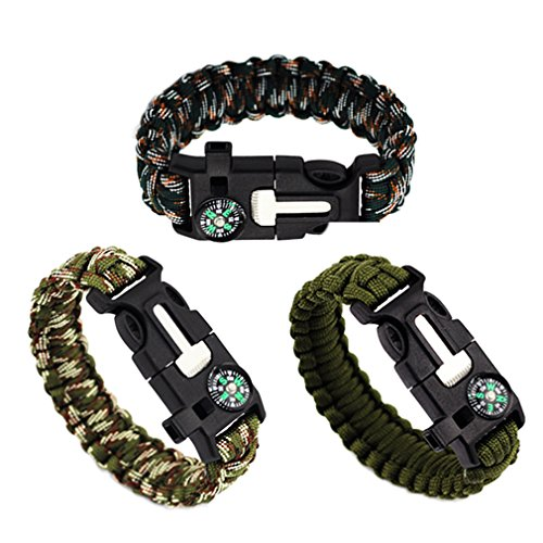 MJARTORIA Freundschaftsbänder Herren Armband Survival Outdoor Armreif Nylon Armband aus geflochtener Paracord mit Pfeife Feuerstarter Clipverschluss (Camo) (Camo Pfeife)