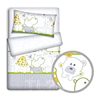 Babymam Baby Bedding Set Pillowcase/Duvet Cover to Fit Baby Cot, Zoo Green, 2-Piece