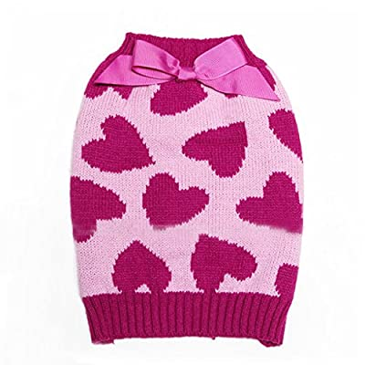 Tiny Small Dog Puppy Turtleneck Sweater Clothes Heart Pattern with Bowknot