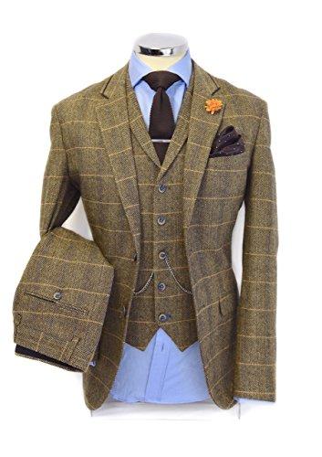 Mens 3 Piece Vintage Tweed Herringbone Check Tan Brown Slim Fit Wedding Party Suit