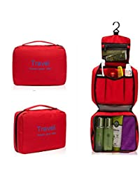 Swarish Portable Toiletry Travel Pouch Zipper Storage Hanging Bag Pouch-Red
