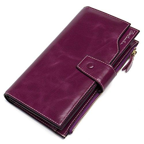 BOSTANTEN Portefeuille Cuir Véritable Femme Zippé Porte-monnaie Compagnon Longue Fille Violet