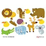 #1: ezyPRNT Wall Stickers for Switch Board Decoration Set of 12 Cute Animals
