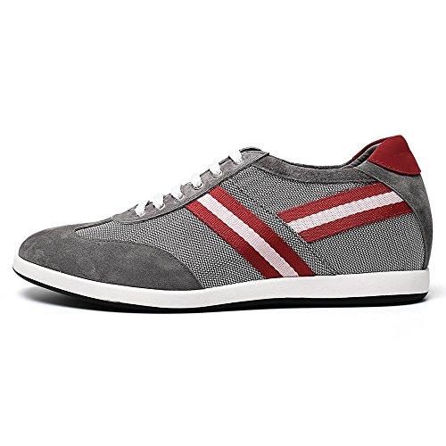 CHAMARIPA chaussures rehaussantes Sneakers en Cuir de Hautes homme - Grandit de 6 cm Gris