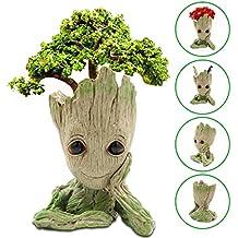 DigHealth Maceta Groot Flower Pot, Guardianes del Galaxy Tree Man Macetas con Agujero, Bebé Groot Figuras Pot Pen Contenedor, Asamoom Maceta y Lapicero en ...