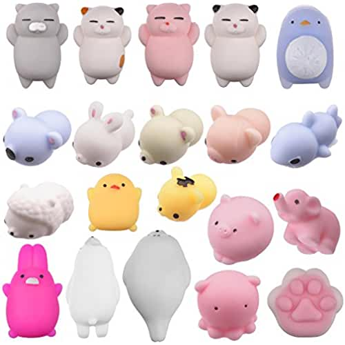 mini kawaii miniaturas kawaii Vidillo Mochi Squishys 20 PCS Animal Squishies Mochi Squeeze Toys Soft Squishy Stress Juguetes para animales Kawaii Animal Squishy Mini Slow Squishies para gatos