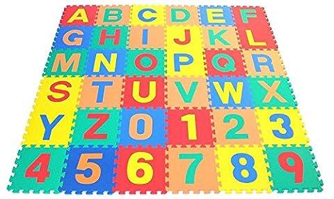 Hochwertige BPA-Freie und Formamid 30 86-teilige Puzzlematte mit 36 Spielmatten, robuster Kinder-Spielteppich, kälteisolierende Spielmatte, Schaumstoffmatte mit Schall-Dämmung, Spielpolster, gegen kalte Böden und Fußbodenkälte. Als Krabbelatte zum Toben, pädagogische Spieldecke. (ABC &