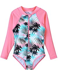 34bb8f3883 HUAANIUE Girls One Piece Swimsuit Flower Swimwear Long Sleeve UPF 50+ UV  Sunsuit with Zipper
