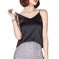 Ayervici Womens Soft Silk Camisoles V Neck Spaghetti Strap Cami Tank Tops (Black,M)