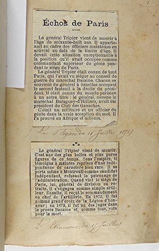 Ensemble de coupures de presse relatif au décès du Général Tripier par Collectif