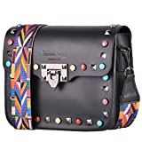 BORDERLINE - 100% Made in Italy - Mujer bolso de cuero con tachuelas y pequeña correa de hombro de colores - ARIANNA (Negro)