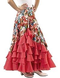 ANUKA Falda de NIÑA para Baile Flamenco o sevillanas con Mucho Vuelo, 5 Volantes en Cascada, con Flores Estampadas. (Coral/salmón,…
