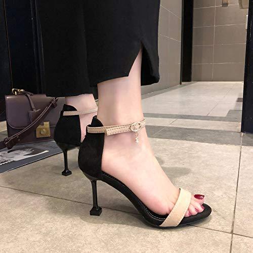Sandalen für Frauen 2019 Sommer, koreanische Version von Wildleder, Fisch-Mund High Heels, Damenschuhe, Schnalle mit Damen-Sandalen, Pink - Aprikose - Größe: 36 EU