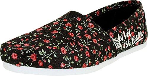 Toms Corde À Semelle 1019b09r, Espadrillas Donna Black Textile Floral