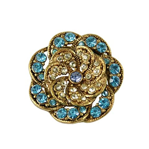 Vintage Style Turquoise and Jonquil Gold Scarf Clip With Gift Box