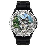 Timest - Lobo Indio Reloj de silicona negro para mujer con piedrecillas Analógico Cuarzo...