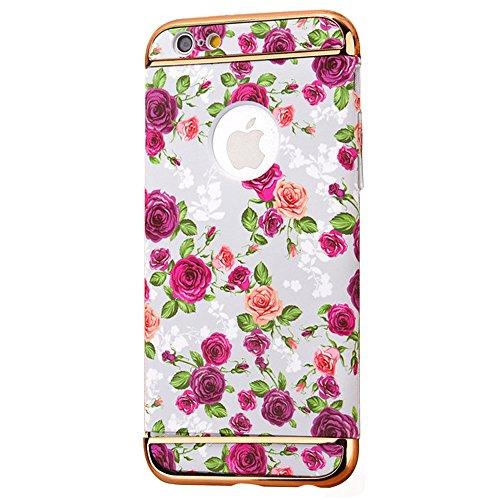 "iPhone 6s Handyhülle, Kreativ Mode Series CLTPY iPhone 6 [Ultra Hybrid] 3-Teilige Stylisch Extra Dünne Tough Plastic Schutz-etui mit Detachable Elektroplattiert metallrahme für 4.7"" Apple iPhone 6/6s  Farbige Blume 15"