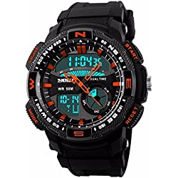 Unitedeal New Brand Box Men's Teenagers Multifunctional Outdoor Running Sports Waterproof Dual Time Digital Chronograph Wrist Watch Orange