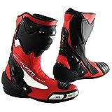 A-Pro Stivale Scarpa Calzatura Pelle Moto Race Racing Sport Pista Tecnico Rosso 43
