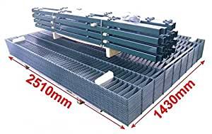 Doppelstab-Mattenzaun Komplett-Set / Anthrazit / 143cm hoch / 120m lang / Gartenzaun Metallzaun Zaun Zaunanlage