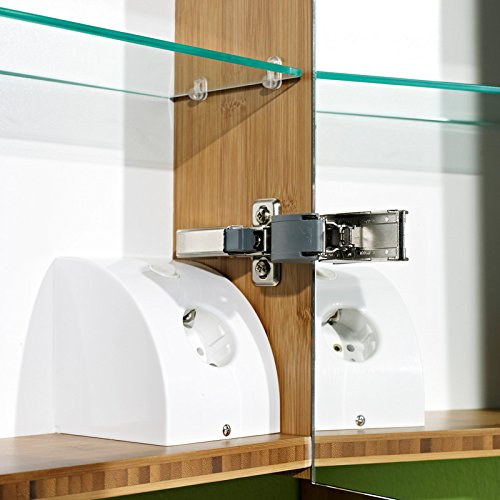 Lomadox Komplett Badezimmer Möbel Set Bambus massiv lackiert 8-TLG