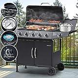 Barbecue a Gas | Griglia con 6 Bruciatori (5+1), in Acciaio, con Termometro e...
