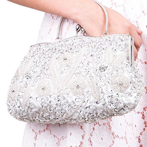 Lifewish Women's Evening Bag Beaded Sequin Design Metal Frame Kissing Lock Satin Interior Evening Clutch (Silver)