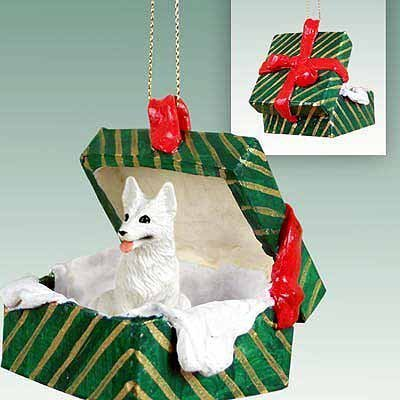 Conversation Concepts German Shepherd White Gift Box Green Ornament by Conversation Concepts -
